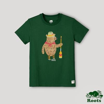 Roots女裝-戶外野營系列 船槳熊短袖T恤-軍綠