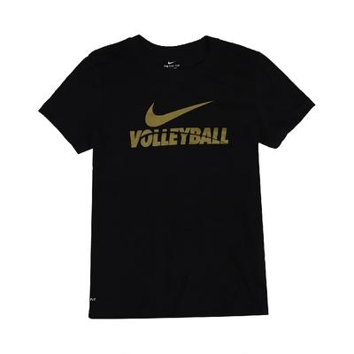 Nike T恤 Volleyball Tee 運動休閒 女款 DRI-FIT 吸濕排汗 快乾 圓領 黑 金 561423010VB70 購