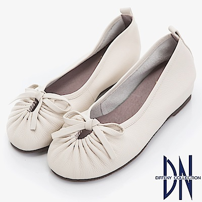 DN 百搭簡約 真皮蝴蝶結楔型包鞋-米