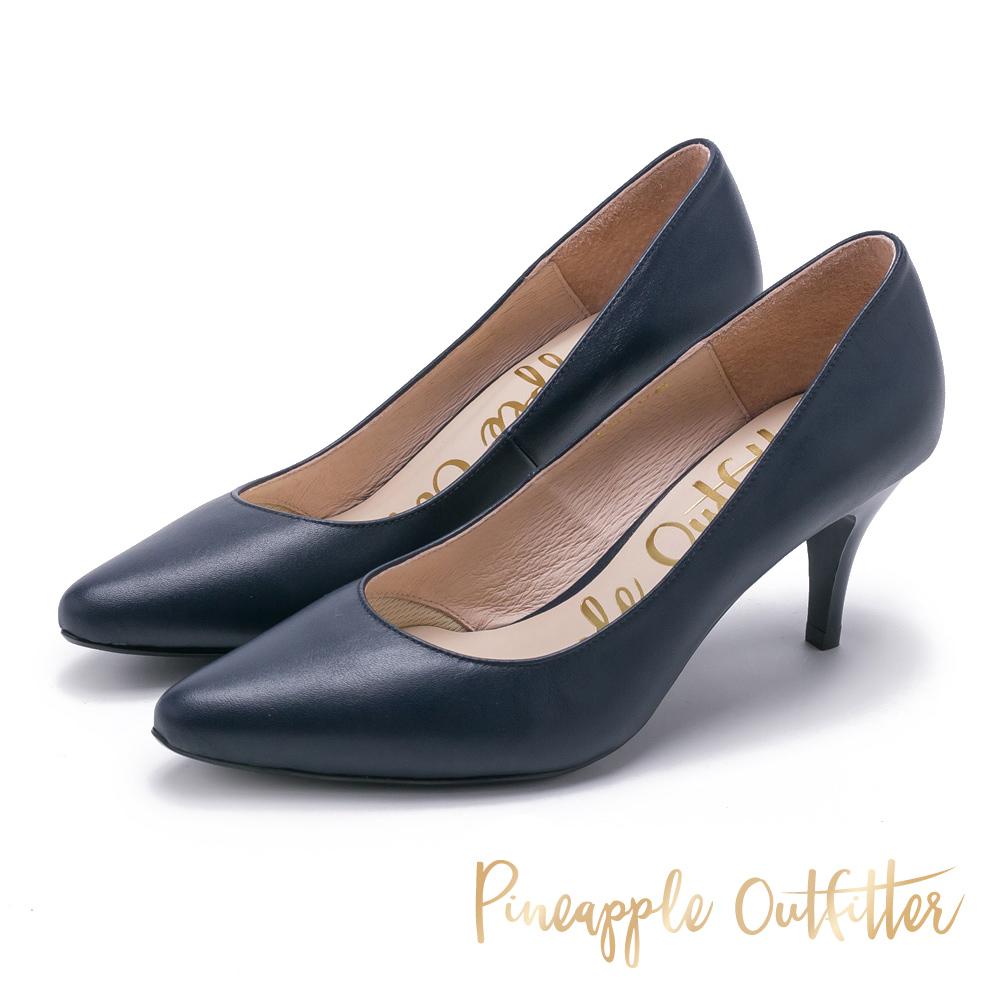 Pineapple Outfitter 簡約風尚 素面尖頭中跟鞋-藍色