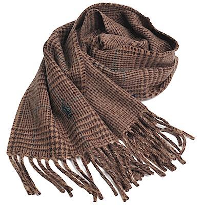 RALPH LAUREN POLO 義大利製小馬刺繡雙面配方格紋羊毛圍巾(駝色系)