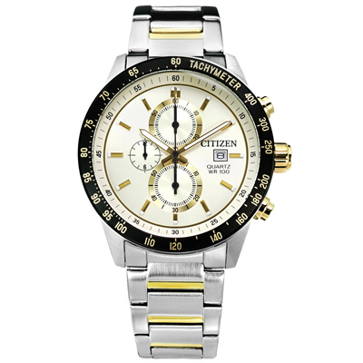 CITIZEN 礦石強化玻璃計時手錶(AN3604-58A)-米白x鍍金/44mm