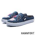 HANNFORT CAMPUS微笑徽章厚底包跟穆勒鞋-女-海軍藍