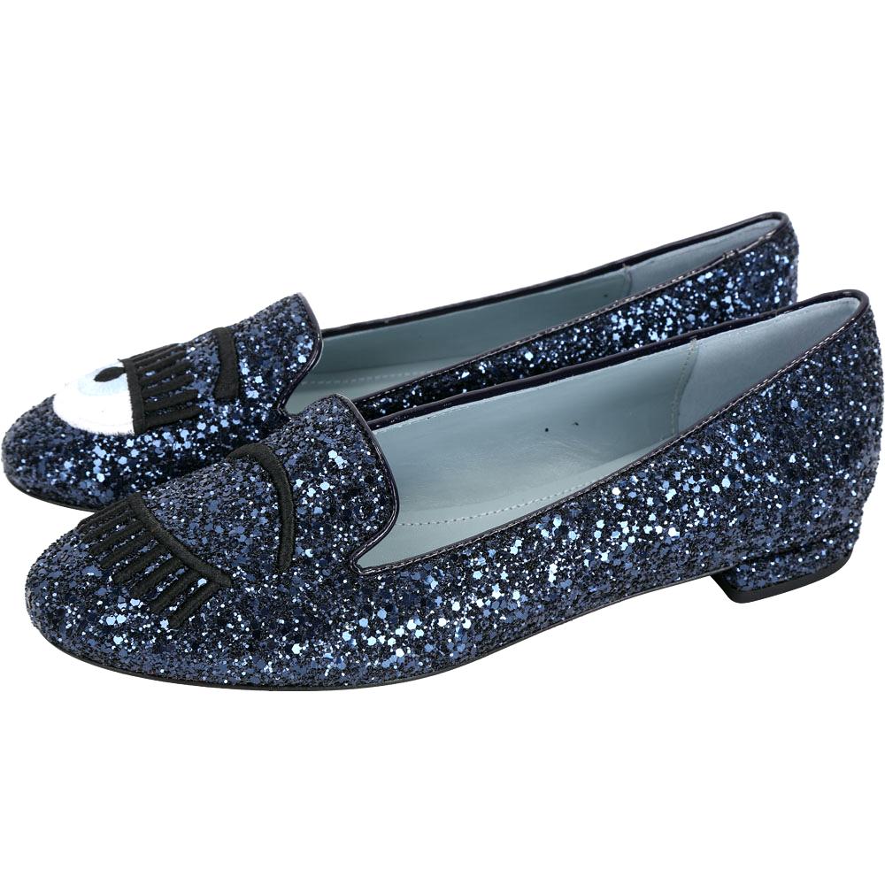 Chiara Ferragni Flirting 刺繡眨眼淺藍鞋底亮片樂福鞋(深藍)