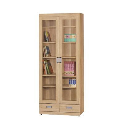 【綠活居】波蘭   現代2.7尺二門二抽書櫃/收納櫃(二色可選)-80x38x197cm免組