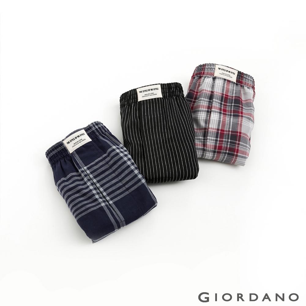 GIORDANO 男裝平口四角褲(三件裝) - 03 藍/紅/黑