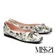 低跟鞋 MISS 21 小別緻復古蝴蝶結設計全真皮方頭低跟鞋-印花 product thumbnail 1