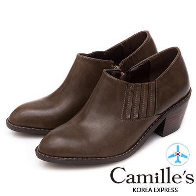 Camille's 韓國空運-造型繃帶西部短靴-咖啡
