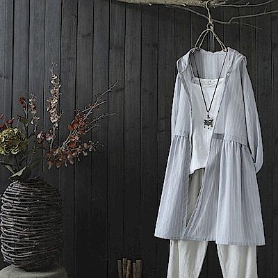 中長版棉麻連帽條紋防曬衣開衫裙外套上衣-設計所在