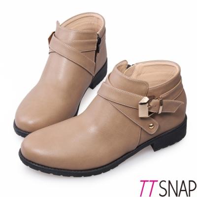 TTSNAP短靴-MIT個性交叉釦帶低跟踝靴 駝