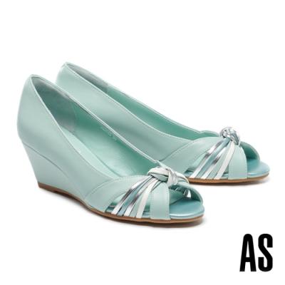 高跟鞋 AS 扭節條帶羊皮魚口楔型高跟鞋-綠