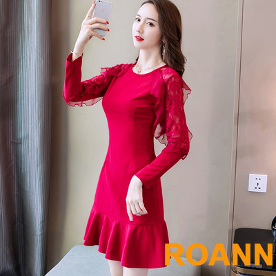 圓領拼接荷葉蕾絲花邊包臀洋裝 (紅色)-ROANN