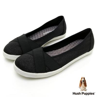 Hush Puppies 帆布交叉娃娃鞋-亮粉黑