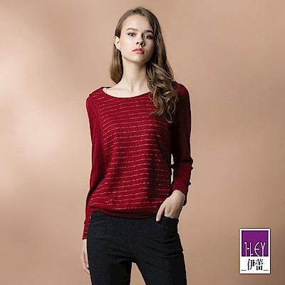 ILEY伊蕾 彩蔥條紋假兩件針織布上衣(紅)