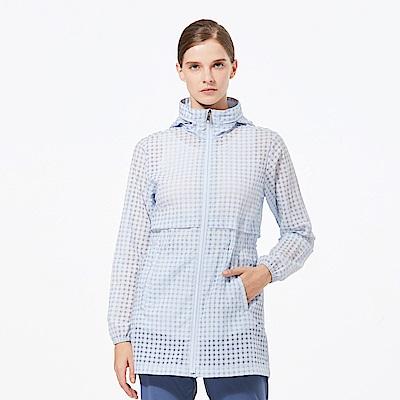 【HAKERS 哈克士】女 抗UV防潑格紋長版外套-天藍