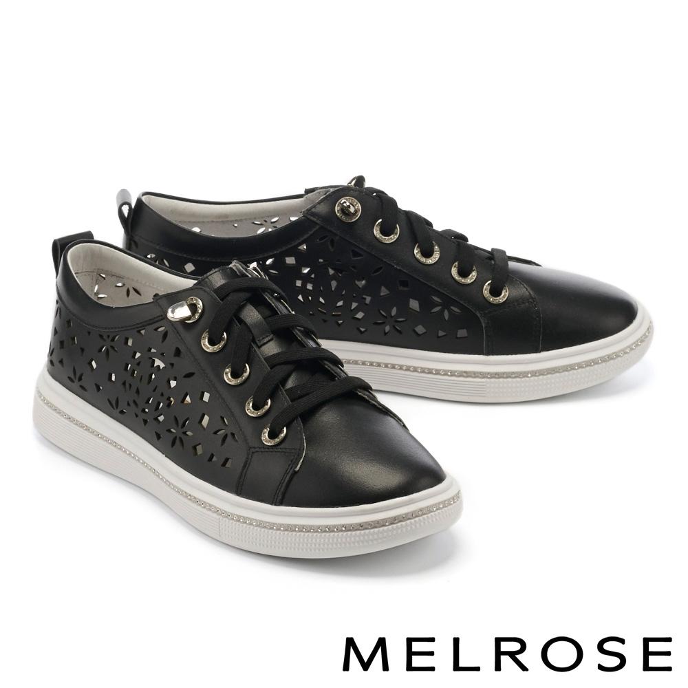 休閒鞋 MELROSE 時尚雕花水鑽全真皮厚底綁帶休閒鞋-黑