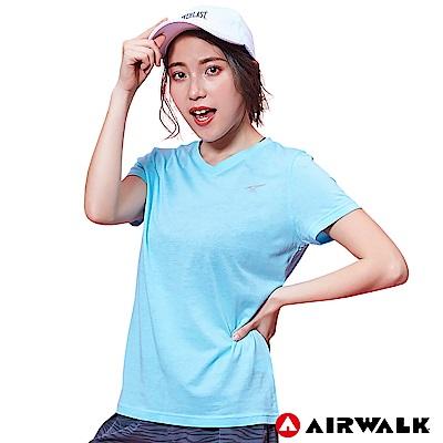 【AIRWALK】女款V領短T-淺藍