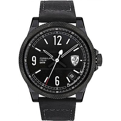 Scuderia Ferrari 法拉利 競速時尚大三針運動錶-黑/46mm