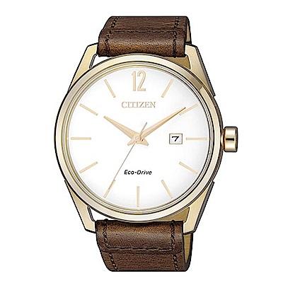 CITIZEN GENTS質感風格光動能三針腕錶(BM7418-17A)
