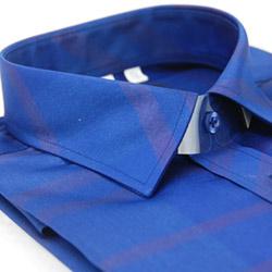 【金安德森】藍底深條紋亮面壓光窄版長袖襯衫