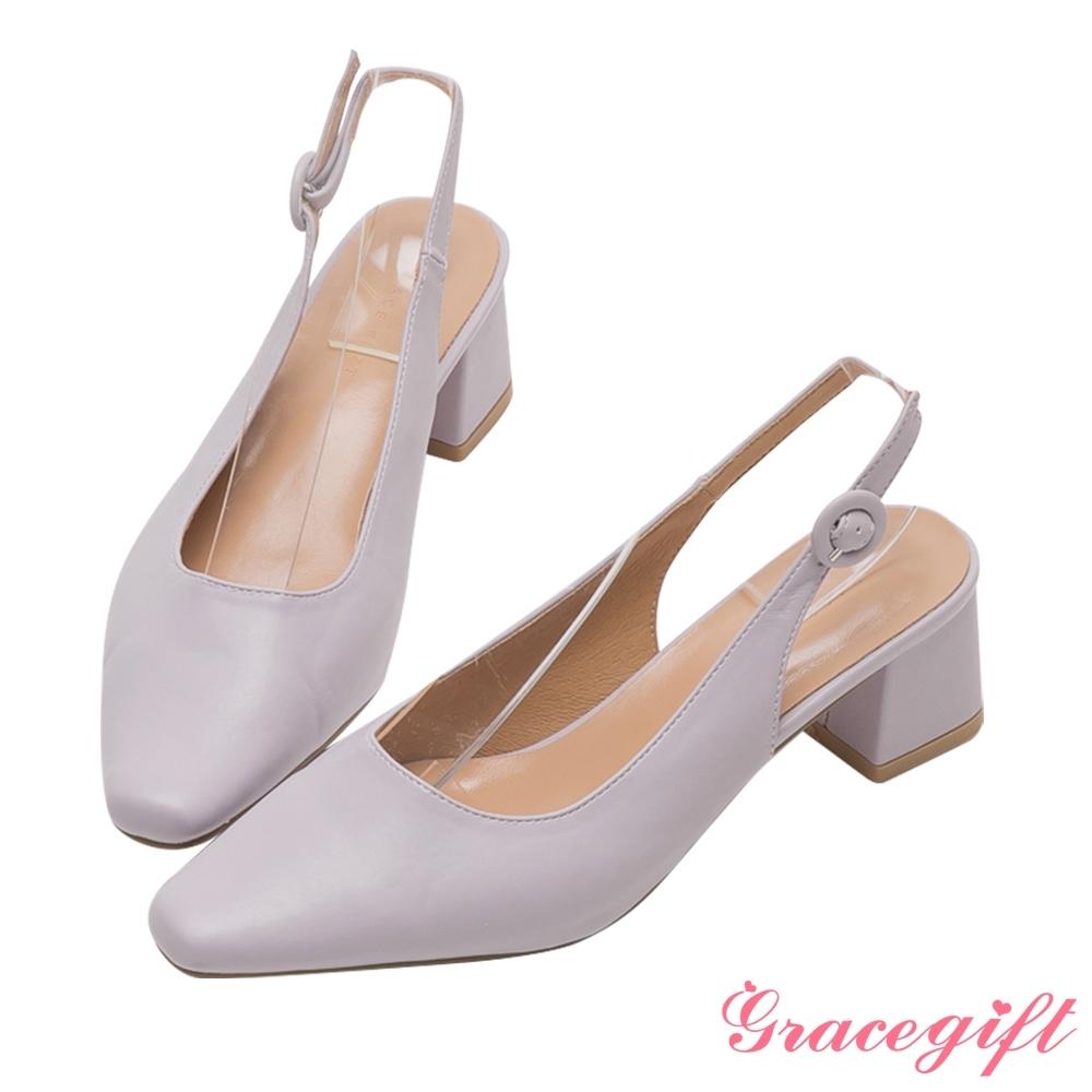 Grace gift-素面繫帶後空中跟鞋 紫