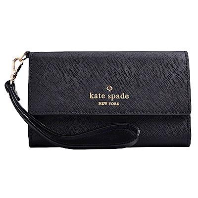 Kate spade 燙金LOGO防刮皮革三折翻蓋手機手拿包-黑