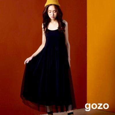 gozo 趣味號誌布標細肩網紗洋裝(黑色)