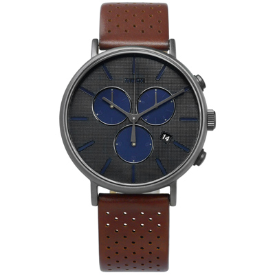TIMEX 天美時 INDIGLO專利冷光照明日期真皮手錶-灰x咖啡/41mm