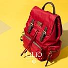 【LILIO】胭脂紅_壓扣式手提/雙肩後背包_簡約生活_SOLID