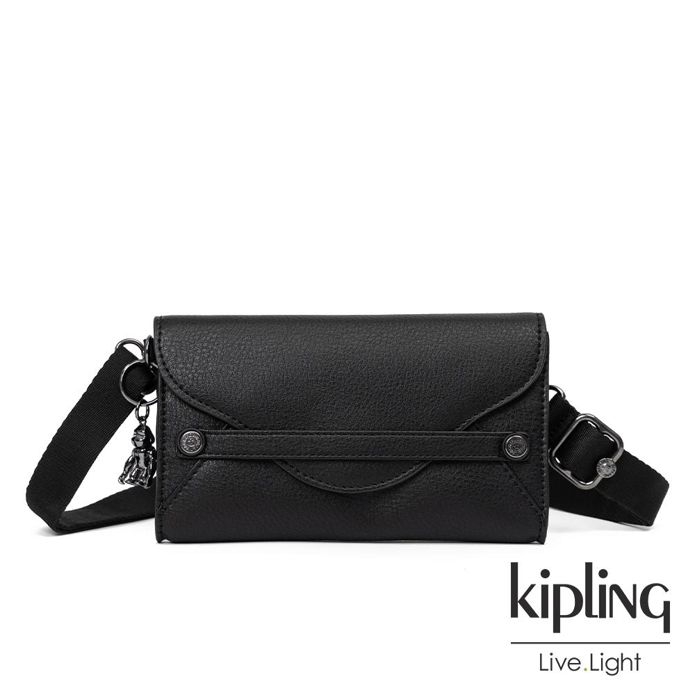 Kipling 輕質皮革黑信封造型小包-LELIO