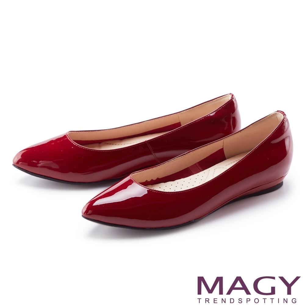 MAGY 親膚舒適尖頭真皮 女 平底鞋 紅色