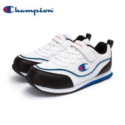 【Champion】SOUND WAVE 復古慢跑鞋 大童鞋-白/黑/藍(KFLS-0384-01)