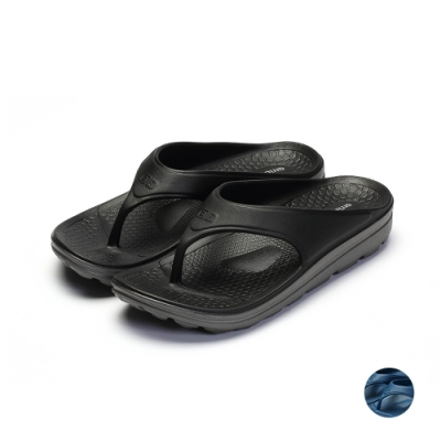 ARRIBA艾樂跑男鞋-輕量防水夾腳拖鞋-黑/藍(61508)