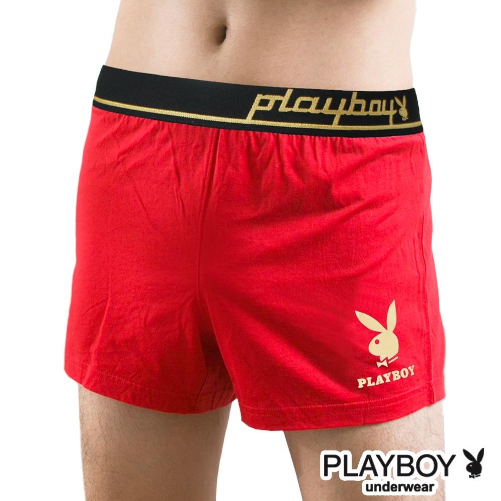 男內褲  PLAYBOY 彈性精梳棉素色燙金兔頭寬鬆四角褲-單件(紅)