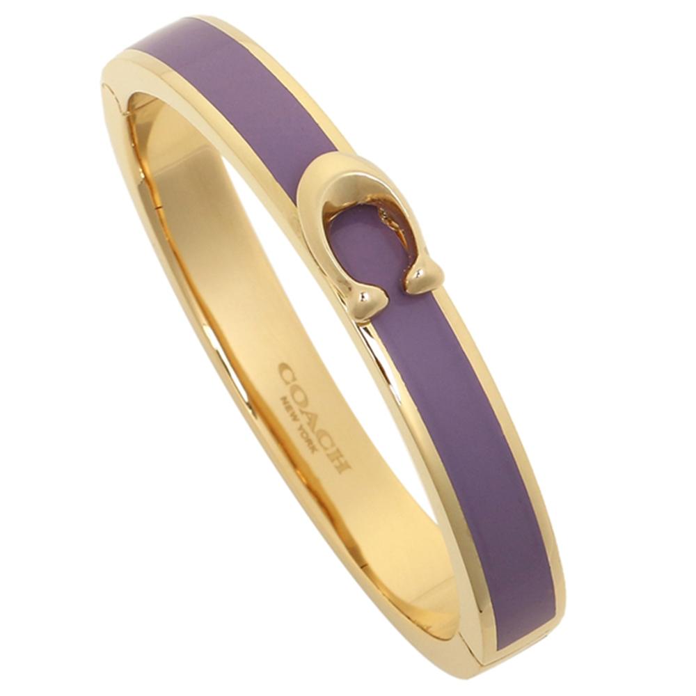COACH 時尚新款金色Logo手環-紫色