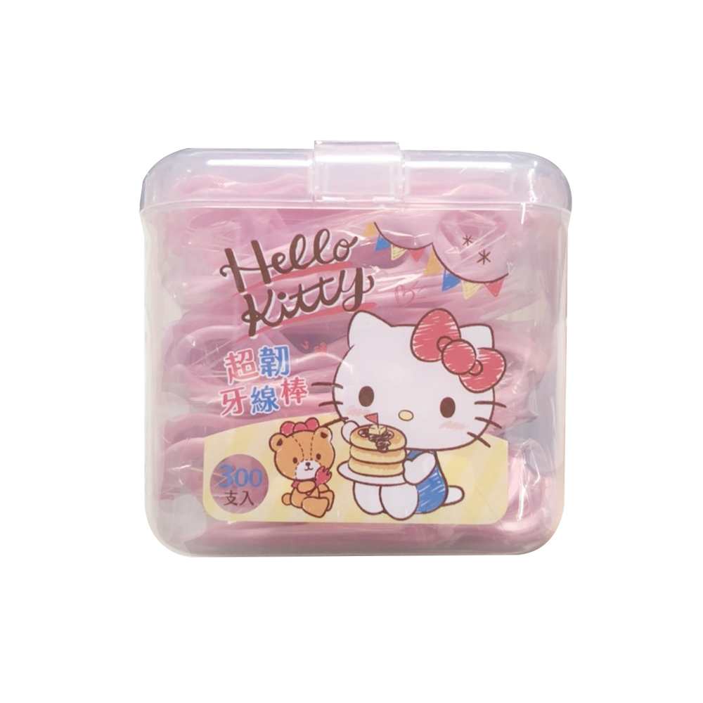 Hello Kitty 凱蒂貓超韌牙線棒 300支 X 6 盒(盒裝) 附按扣式密封收納盒 (台灣製)