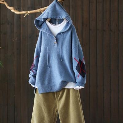 菱紋袖口半開襟套頭抽繩連帽毛衣寬鬆長袖針織衫-設計所在