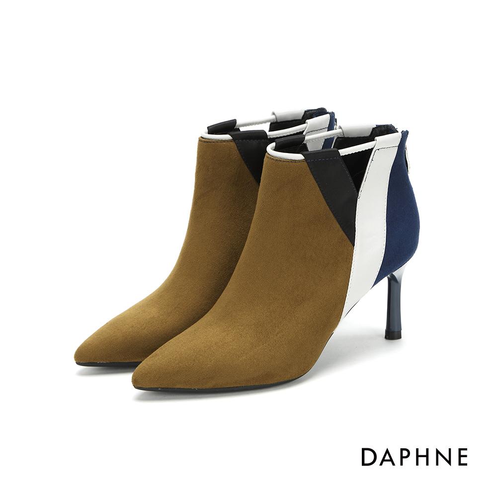 達芙妮DAPHNE 短靴-個性撞色拼接尖頭細高跟短靴-橄欖綠