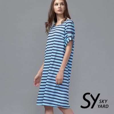 【SKY YARD 天空花園】條紋五分袖寬版洋裝-藍色