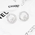 CHANEL香奈兒 鏤空圓形雙C水鑽銀色耳環