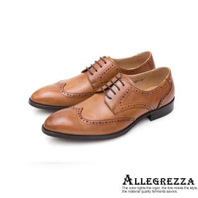 ALLEGREZZA真皮男鞋-時尚單品-藝紋雕花穿孔德比鞋  焦糖色