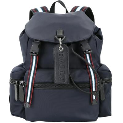 BALLY CREW 小型 皮牌標誌條紋織帶尼龍後背包(深藍色)