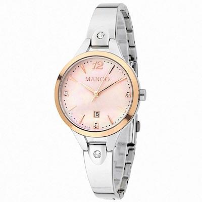 MANGO 絢爛瑰寶DAY BY DAY不鏽鋼腕錶-粉X銀