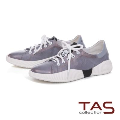 TAS擦色手抓牛皮綁帶休閒鞋-金屬灰