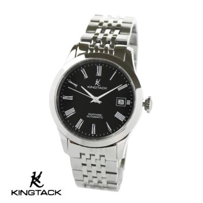 KINGTAGK 羅馬星辰簡約中性機械錶38mm銀黑