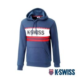 K-SWISS KS Logo Hoodie刷毛連帽上衣-男-藍