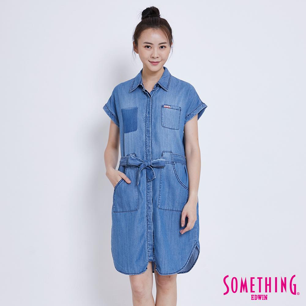 SOMETHING 率性綁帶 牛仔襯衫洋裝-女-中古藍