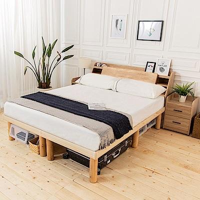 時尚屋 佐野5尺床箱型4件房間組-床箱+高腳床+床頭櫃2個+床墊
