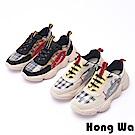 【時時樂】Hong Wa 時尚拼接牛麂皮綁帶厚底老爹鞋