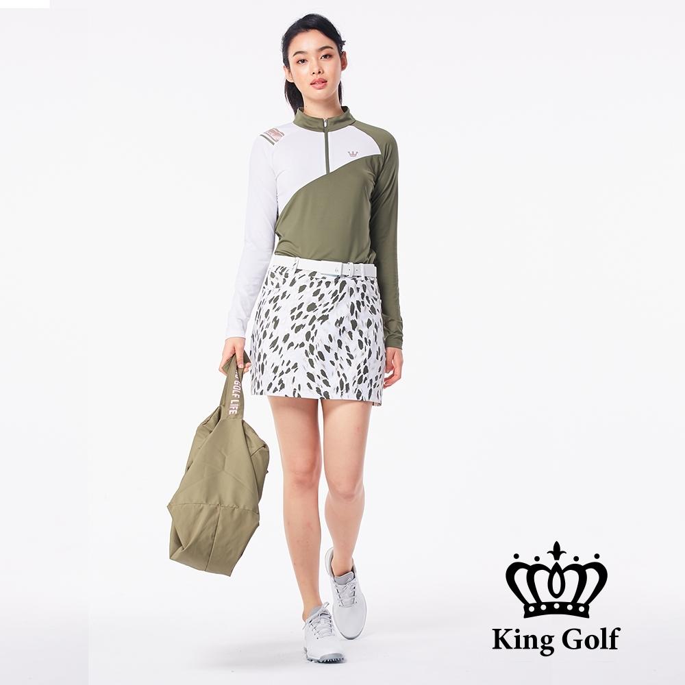 【KING GOLF】不規則下擺異色拼接立領拉鍊長袖POLO衫-綠色